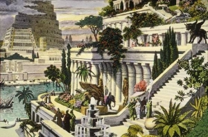 Hand-colored engraving of the Hanging Gardens of Babylon, 16th Century by Maarten van Heemskerck