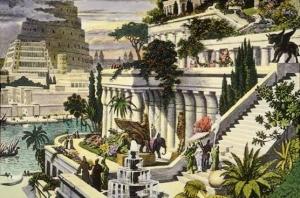 Hand-colored engraving of the Hanging Gardens of Babylon, 16th Century by Maarten van Heemskerck
